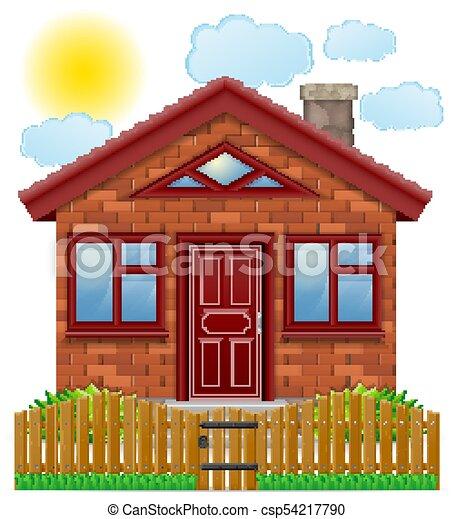 recinto, legno, paese, illustrazione, vettore, casa, piccolo - csp54217790