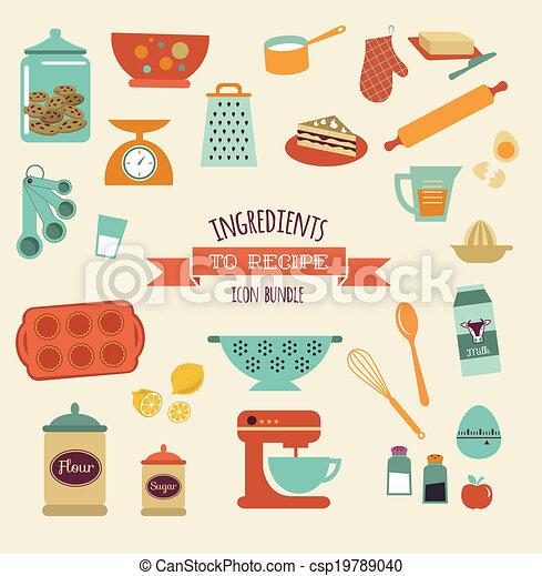 Recipe And Kitchen Vector Design Icon Set