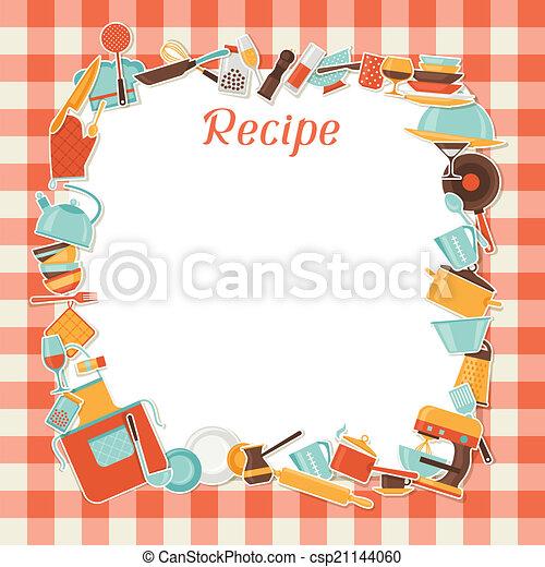 Recipe background with kitchen and restaurant utensils. - csp21144060