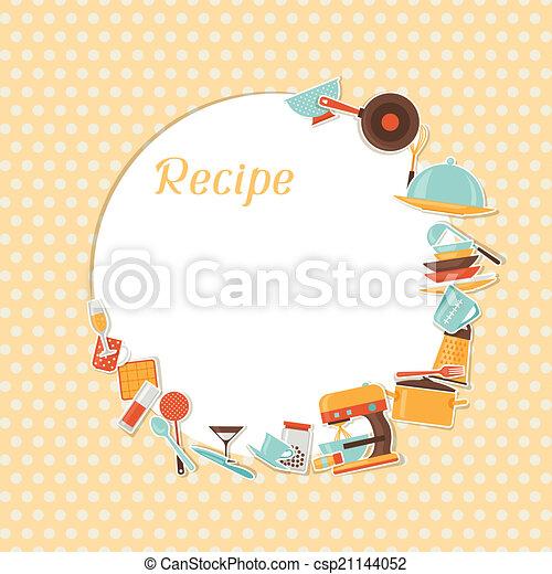 Recipe background with kitchen and restaurant utensils. - csp21144052