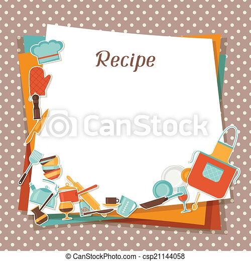 Recipe background with kitchen and restaurant utensils. - csp21144058