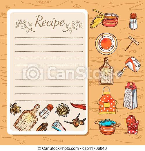 Recipe Book And Kitchenware - csp41706840