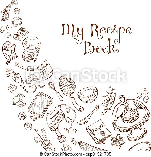 Recipe Book Cover Baking Utensils In Doodle Style My