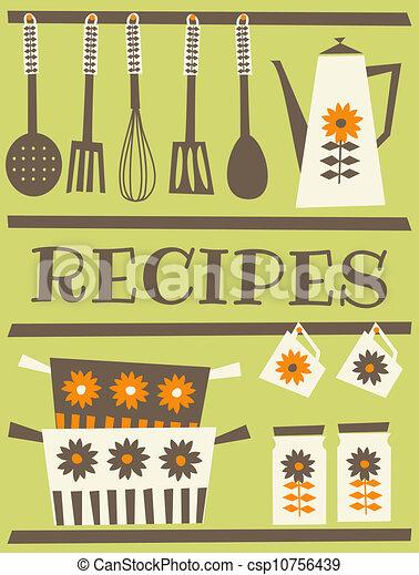 Recipe Card Design In Retro Style Vectors