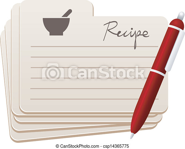 recipe cards with red pen rh canstockphoto com Recipe Graphics christmas recipe card clipart