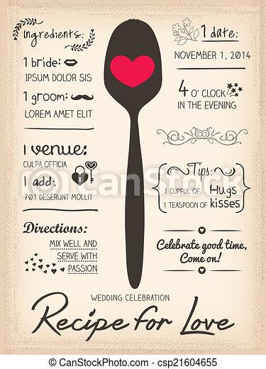 Recipe for Love creative Wedding Invitation - csp21604655