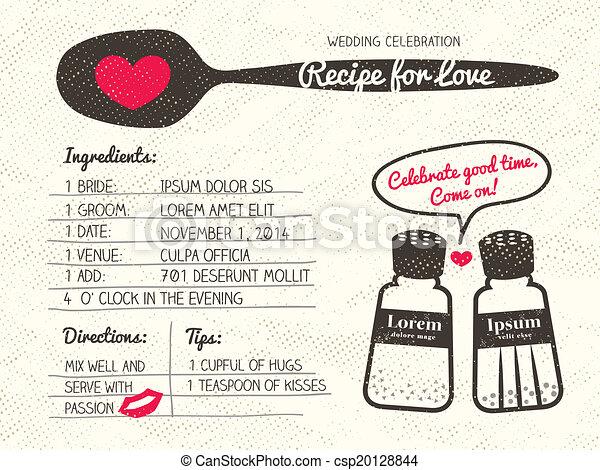 Recipe for Love creative Wedding Invitation - csp20128844