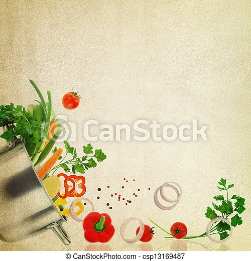 Recipe template. Fresh vegetables on fabric texture - csp13169487