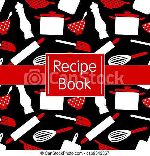Recipes Book Design Recipe In Black White And Red