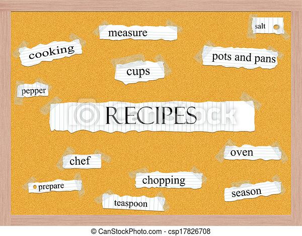 Recipes Corkboard Word Concept - csp17826708