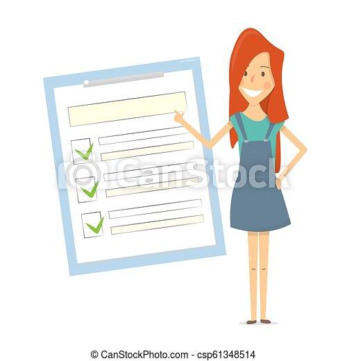 Formulario de reclamación. La mujer muestra una lista de documentos. - csp61348514