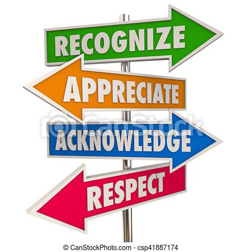 recognize appreciation acknowledge respect signs 3d