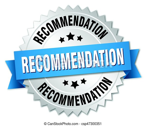recommendation round isolated silver badge - csp47300351