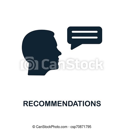 Recommendations icon. Monochrome style design from business ethics icon collection. UI and UX. Pixel perfect recommendations icon. For web design, apps, software, print usage. - csp70871795