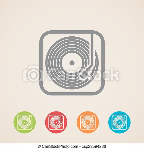 record player with vinyl record. vector icons - csp23594238