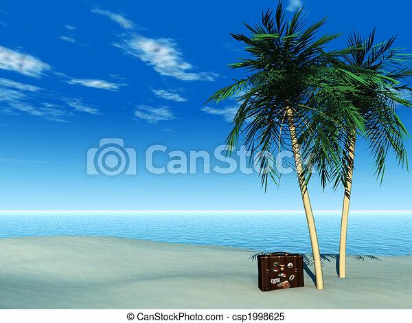 Una maleta de viaje en la playa tropical. - csp1998625