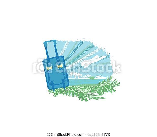 recorrido tropical, vacaciones, diseño, bandera - csp82646773