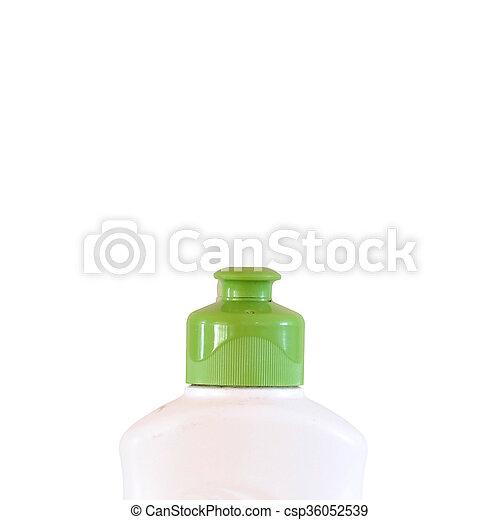 Operculum verde aislado en fondo blanco con camino de recorte - csp36052539