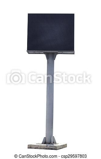 Polo de vallas publicitarias aislados en fondo blanco con camino de recorte - csp29597803