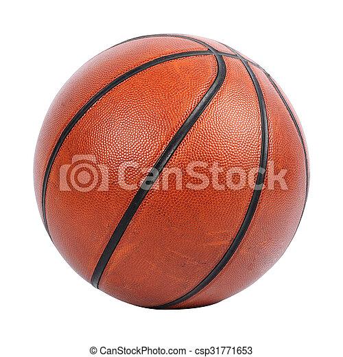 Baloncesto aislado en fondo blanco con camino de recorte - csp31771653