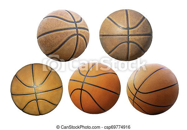 Baloncesto aislado en un fondo blanco con camino de recorte. - csp69774916