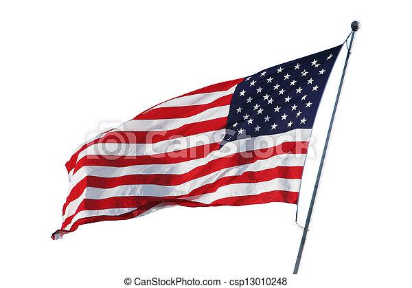 Bandera americana aislada en blanco con camino de recorte - csp13010248