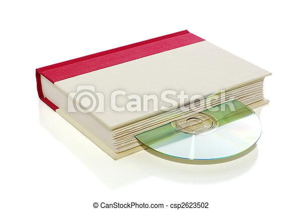 Libro con CD/DVD aislado en blanco con ruta de recorte - csp2623502