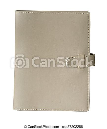 Cuaderno de cuero aislado en fondo blanco con ruta de recorte - csp37202286