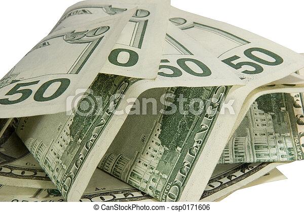 50 dólares aislados en un fondo blanco con una trayectoria cortante - csp0171606