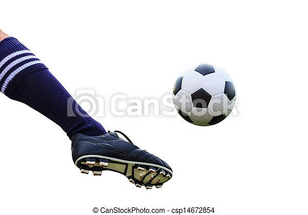 Una pelota de fútbol de pie aislada con un camino de recorte - csp14672854