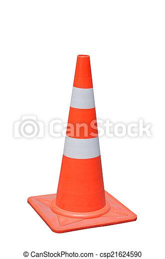 Cono de tráfico naranja sobre fondo blanco, camino de recorte - csp21624590