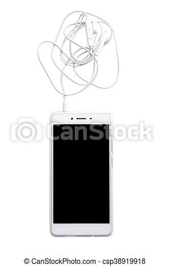 Smartphone con auriculares aislados en fondo blanco con ruta de recorte - csp38919918