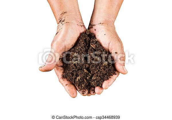 A mano cerrada sosteniendo musgo de turba en el suelo aislado con un camino de recorte. - csp34468939