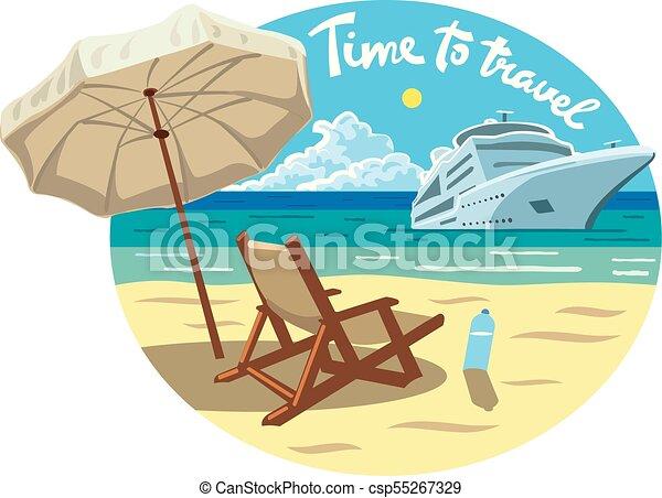 recours, croisière bateau, plage, océan - csp55267329