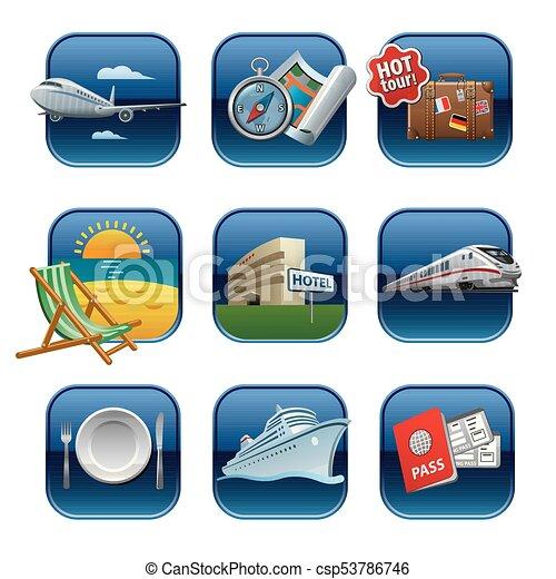 recours, icônes voyage - csp53786746