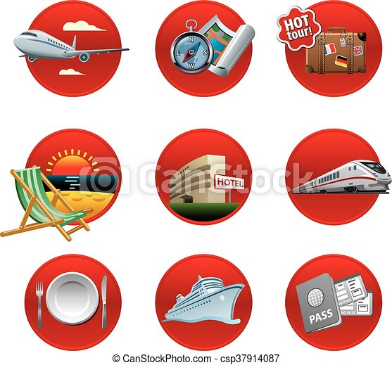 recours, voyage, ensemble, icône - csp37914087