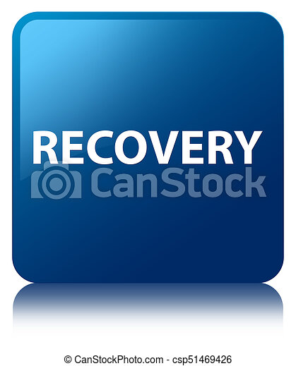 Recovery blue square button - csp51469426
