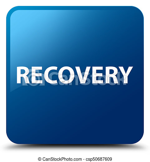 Recovery blue square button - csp50687609