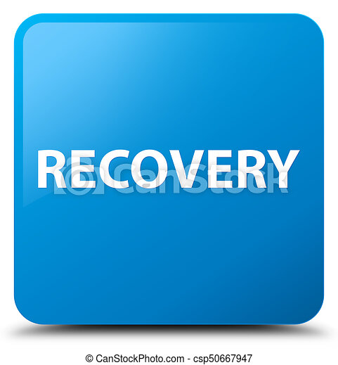 Recovery cyan blue square button - csp50667947