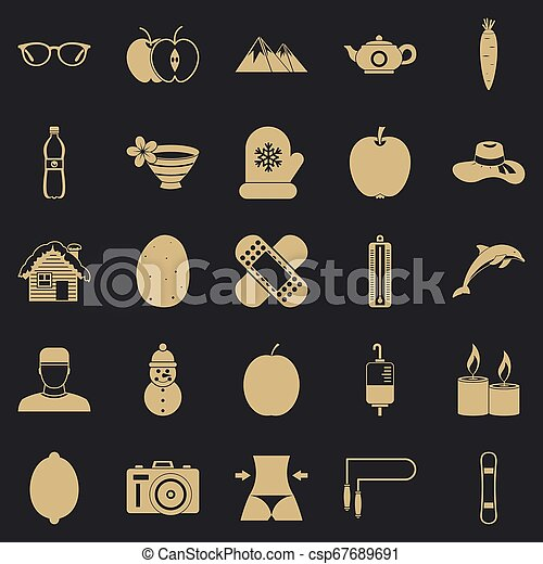 Recovery of health icons set, simple style - csp67689691