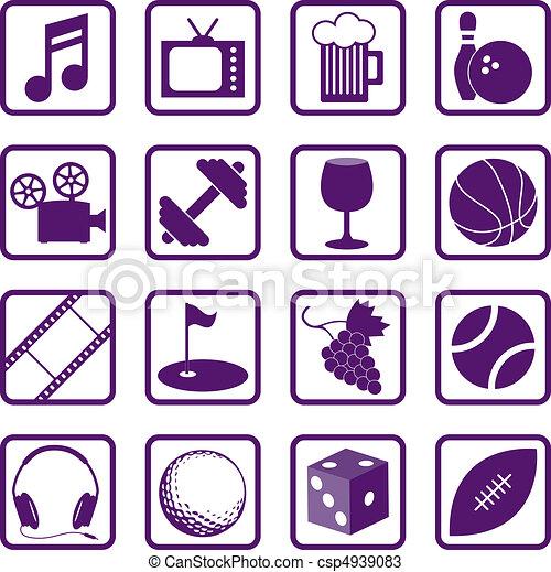 recreação, ícones - csp4939083