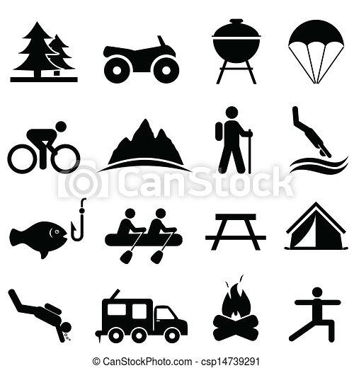 recreação, lazer, ícones - csp14739291