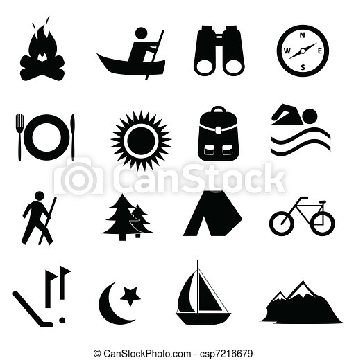 recreação, lazer, ícones - csp7216679