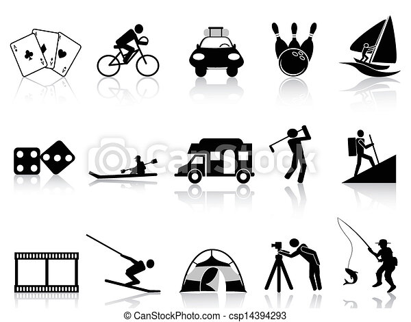 Iconos de lectura y recreación establecidos - csp14394293