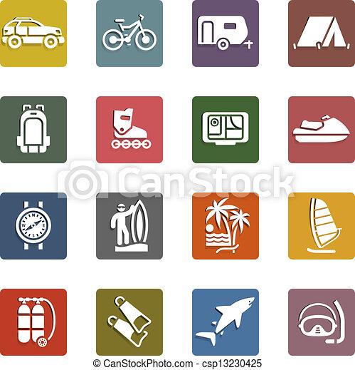 Vacaciones, recreo, viajes, iconos - csp13230425