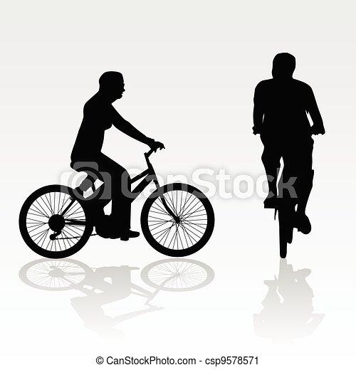 recreation on bike vector silhouette - csp9578571