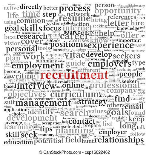 Recruitment concept in word tag cloud on white background - csp16022462