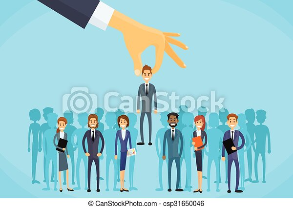 Recruitment Hand Picking Business Person Candidate - csp31650046