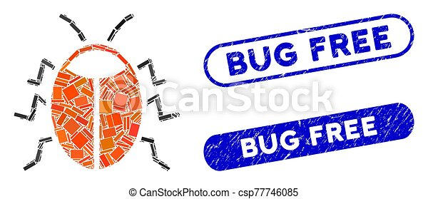Rectangle Mosaic Bug with Distress Bug Free Stamps - csp77746085