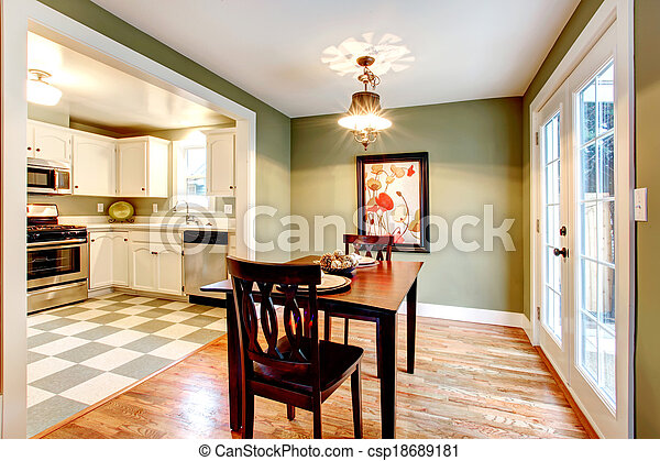 Rectangle Olive Tones Dining Room Small Dining Room With A Hardwood Floor And Olive Walls Furnished With A Black Dining Canstock